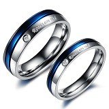 TITANIUM RING Cincin Couple Size 7(F) & 8(M) [GS256] - Blue & Blue - Cincin